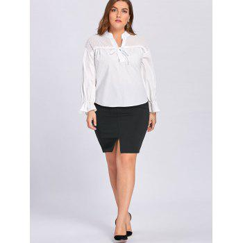 Plus Size Transparent Embellished Drawstring Blouse - WHITE WHITE