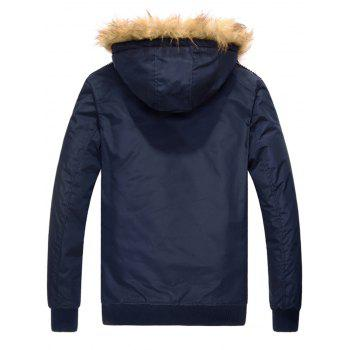 88 Patch Detachable Hood Zip Up Jacket - PURPLISH BLUE PURPLISH BLUE