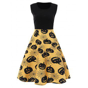 Plus Size Halloween Pumpkin Vintage Sleeveless Dress - YELLOW YELLOW