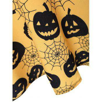 Plus Size Halloween Pumpkin Vintage Sleeveless Dress - YELLOW 3XL