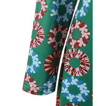 Plus Size Christmas Garland Printed Long Sleeve Dress - GREEN GREEN