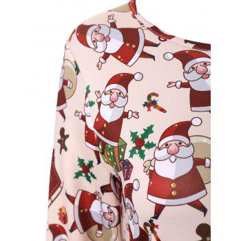 Plus Size Santa Claus Christmas Dress with Sleeves - APRICOT APRICOT