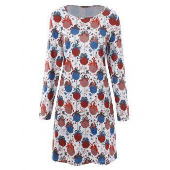 Plus Size Christmas Bell Printed Dress with Sleeves - GREY WHITE GREY WHITE