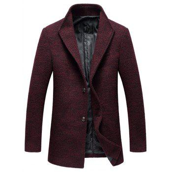 Wood Blend Single Breasted Tweed Coat - WINE RED WINE RED