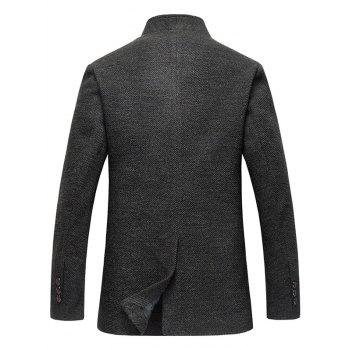 Wood Blend Single Breasted Tweed Coat - DEEP GRAY DEEP GRAY