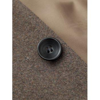 Wool Blend Covered Button Shawl Collar Coat - PALE BROWN PALE BROWN
