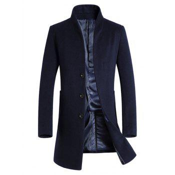 Wool Blend Covered Button Shawl Collar Coat - PURPLISH BLUE PURPLISH BLUE