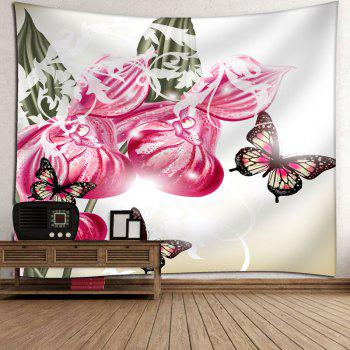 Butterfly Flower Print Wall Decor Tapestry - WHITE WHITE