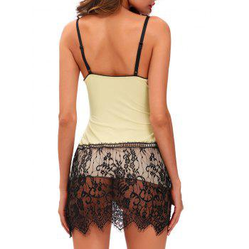 Bodycon Cami Babydoll with Lace - LIGHT APRICOT LIGHT APRICOT