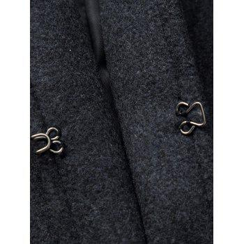 Lapel Collar Hook Button Wool Blend Coat - BLACK BLACK