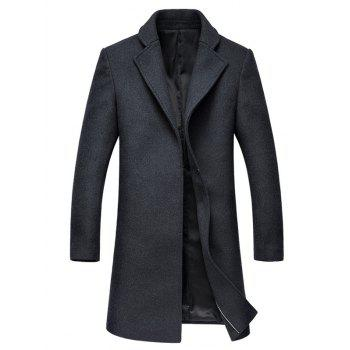 Lapel Collar Hook Button Wool Blend Coat - DEEP GRAY DEEP GRAY