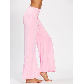 Plain Flare Pants with Wide High Waistband - PINK S
