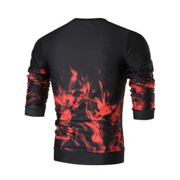 Flame Print Slim Fit Crew Neck Sweatshirt - COLORMIX COLORMIX