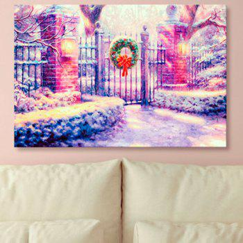 Wall Art Christmas Courtyard Print Canvas Painting - PURPLE PURPLE
