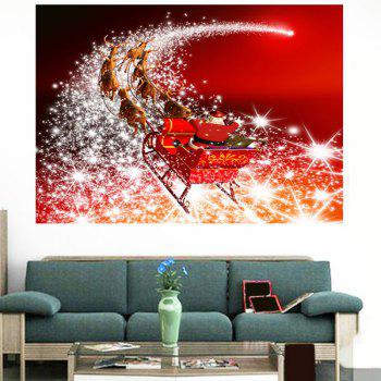 Starlight Road Santa Claus Carriage Printed Wall Art Sticker - RED RED