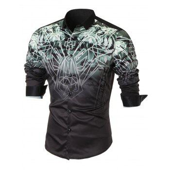 Tiger Turndown Collar Long Sleeve Shirt - BLACK BLACK