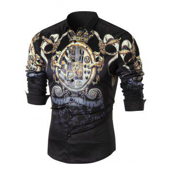 Ornate Print Long Sleeve Casual Shirt - BLACK BLACK