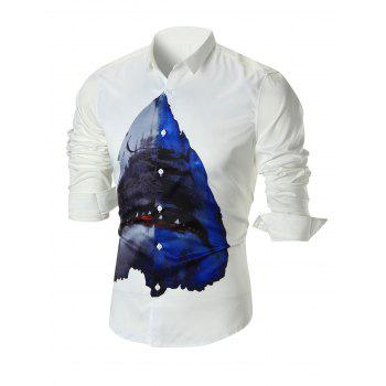 Shark Print Slim-fit Long Sleeve Shirt - WHITE WHITE