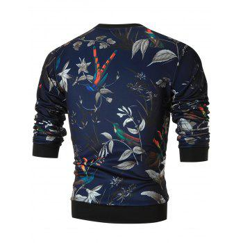 Birds and Flower Print Crew Neck Sweatshirt - COLORMIX XL