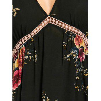Empire Waisted Floral Print Maxi Dress - BLACK M