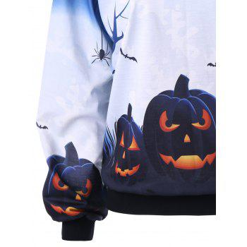 Halloween Plus Size Skew Neck Pumpkin Print Sweatshirt - WHITE XL