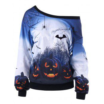 Halloween Plus Size Skew Neck Pumpkin Print Sweatshirt - WHITE WHITE