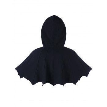 Scalloped Hooded Halloween Bat Cape - BLACK L