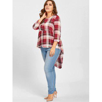 Plus Size Plaid High Low T-shirt - RED 2XL