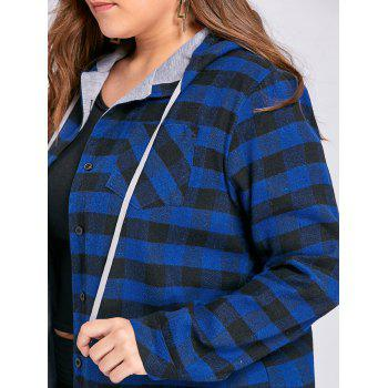 Plus Size Tartan Plaid Drawstring Hoodie - BLUE 2XL