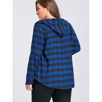 Plus Size Tartan Plaid Drawstring Hoodie - BLUE 5XL