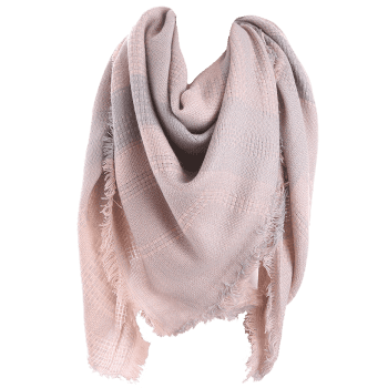 Plaid Fringed Knit Blanket Scarf - PINK