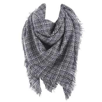 Fringed Small Plaid Blanket Scarf - BLACK