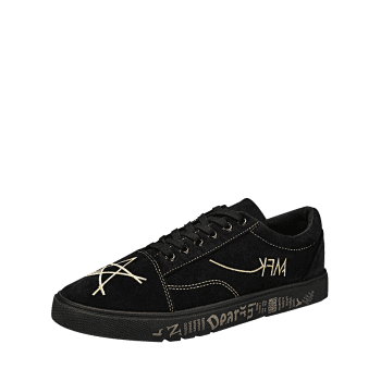 Letter Print Canvas Sneakers - GOLDEN 42