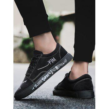 Letter Print Canvas Sneakers - BLACK 40