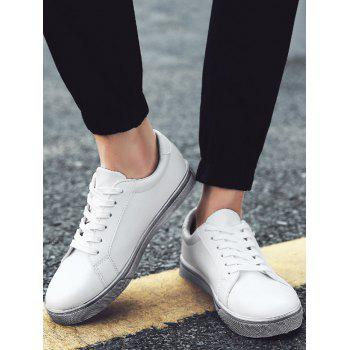 Letter Print Faux Leather Sneaker - WHITE 40