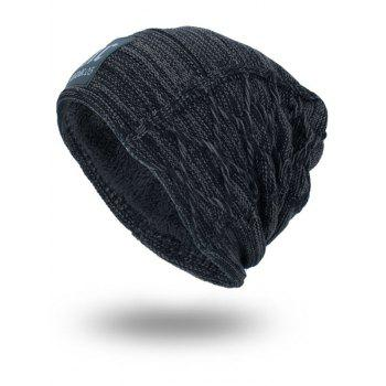 Letters Label Thicken Double-Deck Knit Hat - DEEP GRAY DEEP GRAY
