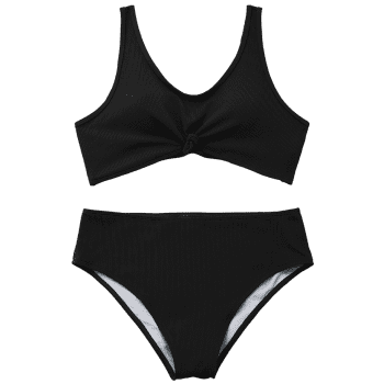 Ribbed Knotted Plus Size Swimwear - BLACK 2XL