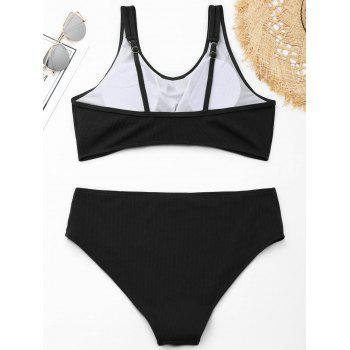 Ribbed Knotted Plus Size Swimwear - BLACK XL