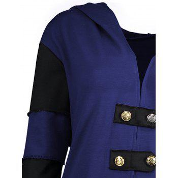 High Low Plus Size Lace-up Hooded Coat - BLUE XL