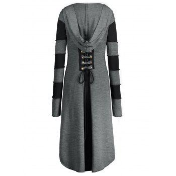 High Low Plus Size Lace-up Hooded Coat - GRAY 2XL