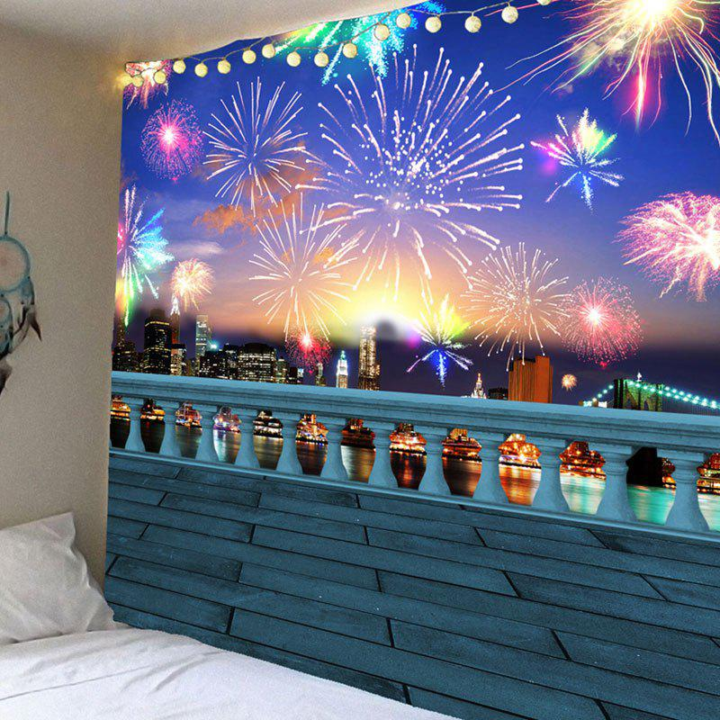 Waterproof Colorful Fireworks Pattern Wall Hanging Tapestry - COLORFUL W79 INCH * L71 INCH