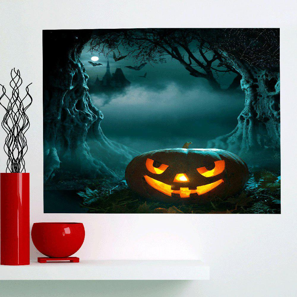 Halloween Moon Night Cave Pumpkin Wall Art Painting - DEEP GREEN 1PC:59*39 INCH( NO FRAME )