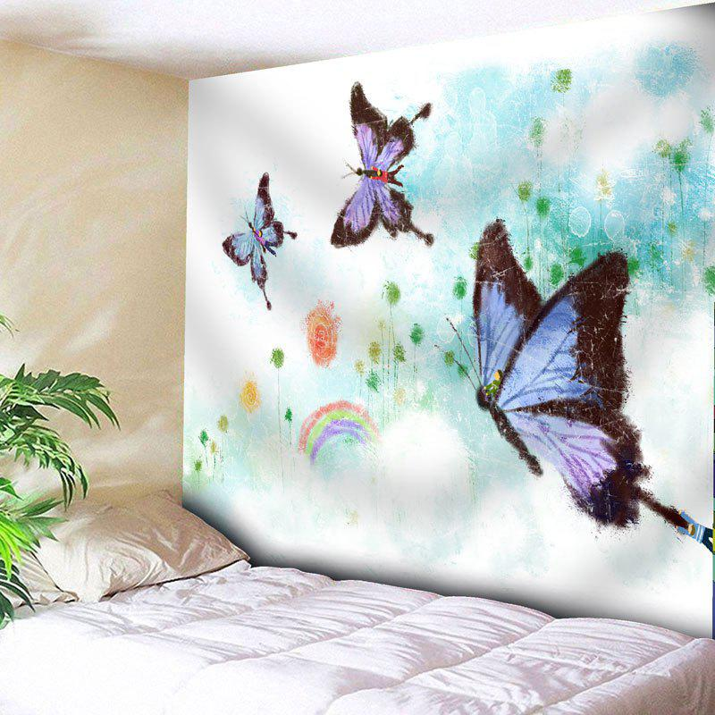Wall Hanging Butterfly Bedroom Tapestry - WHITE W91 INCH * L71 INCH