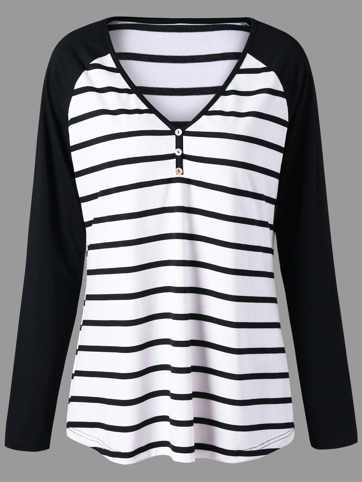Plus Size Striped Raglan Sleeve Jersey T-shirt - BLACK STRIPE XL