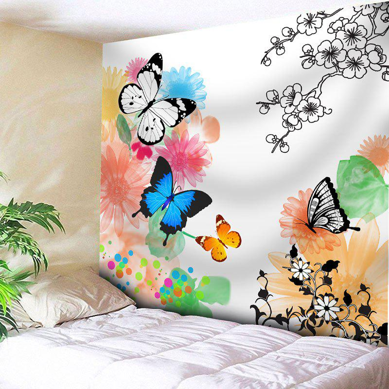 Butterfly Flower Print Wall Tapestry - WHITE W91 INCH * L71 INCH