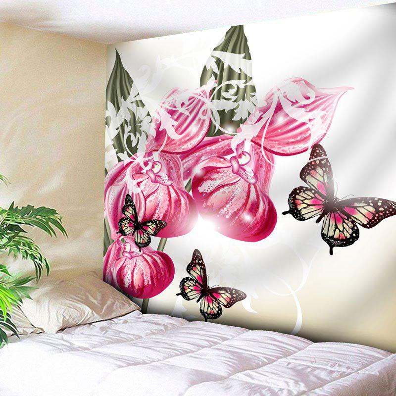 Butterfly Flower Print Wall Decor Tapestry - WHITE W79 INCH * L59 INCH