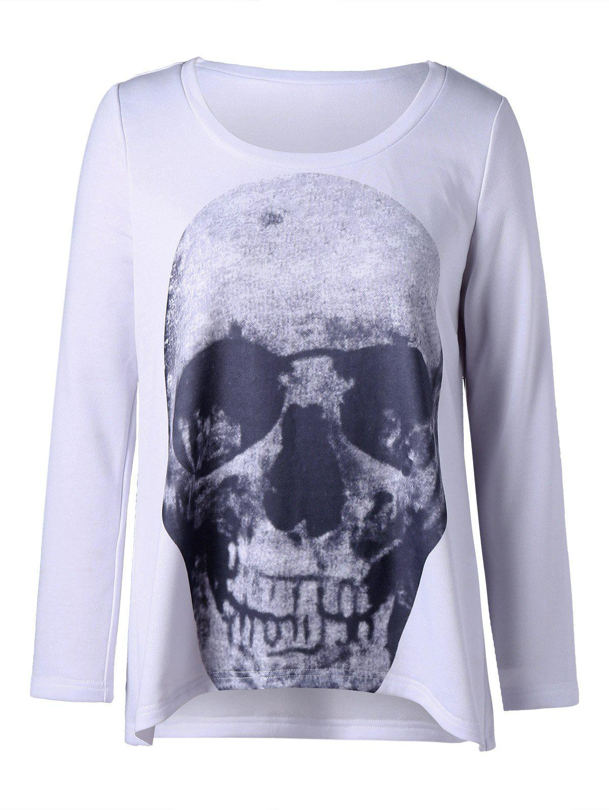 Plus Size Skull Long Sleeve T-shirt - WHITE 3XL