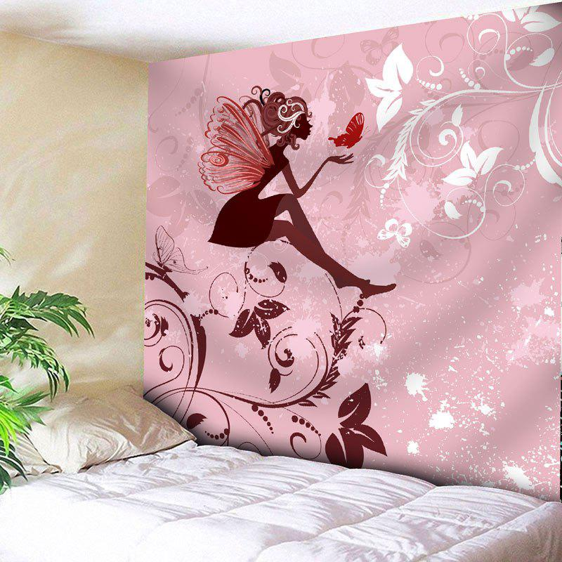 Fairy Butterfly Floral Wall Art Tapestry - PINK W91 INCH * L71 INCH