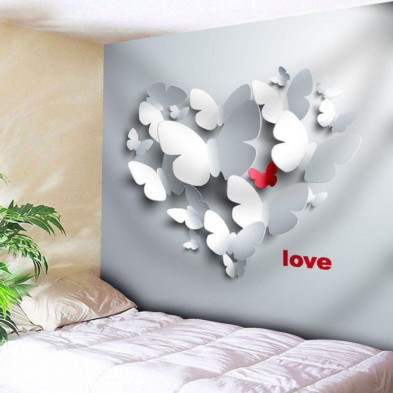 Love Butterfly Pattern Wall Tapestry - GREY WHITE W79 INCH * L71 INCH