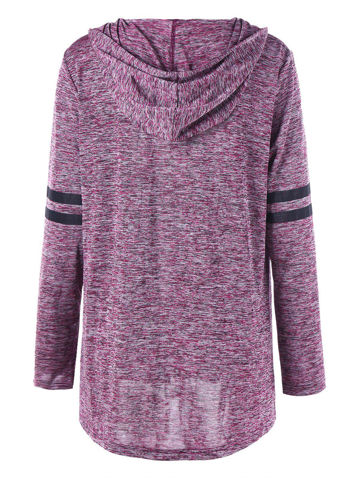 Plus Size Marled Tunic Hoodie - PURPLISH RED 3XL